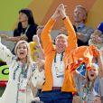 Le roi Willem Alexander, la reine Maxima et leur fille la princesse Ariane - La famille royale des Pays-Bas lors de la finale femmes de gymnastique artistique durant les Jeux Olympiques (JO) 2016 de Rio de Janeiro. Le 15 août 2016 15/08/2016 - Rio de Janeiro