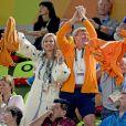 Le roi Willem Alexander, la reine Maxima, et leurs filles les princesses Alexia et Ariane - La famille royale des Pays-Bas lors de la finale femmes de gymnastique artistique durant les Jeux Olympiques (JO) 2016 de Rio de Janeiro. Le 15 août 2016 15/08/2016 - Rio de Janeiro