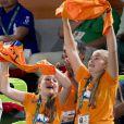 Les princesses Amalia et Alexia - La famille royale des Pays-Bas lors de la finale femmes de gymnastique artistique durant les Jeux Olympiques (JO) 2016 de Rio de Janeiro. Le 15 août 2016 15/08/2016 - Rio de Janeiro
