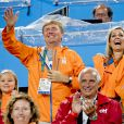 La princesse Ariane, le roi Willem-Alexander et la reine Maxima - La famille royale des Pays-Bas lors des 1/4 de finale femmes de hockey sur gazon durant les Jeux Olympiques (JO) 2016 de Rio de Janeiro. Le 15 août 2016 15/08/2016 - Rio de Janeiro