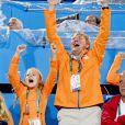 La princesse Ariane et le roi Willem-Alexander - La famille royale des Pays-Bas lors des 1/4 de finale femmes de hockey sur gazon durant les Jeux Olympiques (JO) 2016 de Rio de Janeiro. Le 15 août 2016 15/08/2016 - Rio de Janeiro