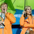 Le roi Willem-Alexander et la reine Maxima - La famille royale des Pays-Bas lors des 1/4 de finale femmes de hockey sur gazon durant les Jeux Olympiques (JO) 2016 de Rio de Janeiro. Le 15 août 2016 15/08/2016 - Rio de Janeiro