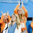 Les princesses Alexia, Amalia et Ariane - La famille royale des Pays-Bas lors des 1/4 de finale femmes de hockey sur gazon durant les Jeux Olympiques (JO) 2016 de Rio de Janeiro. Le 15 août 2016 15/08/2016 - Rio de Janeiro