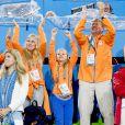 Les princesses Alexia, Amalia, Ariane, le roi Willem-Alexander et la reine Maxima - La famille royale des Pays-Bas lors des 1/4 de finale femmes de hockey sur gazon durant les Jeux Olympiques (JO) 2016 de Rio de Janeiro. Le 15 août 2016 15/08/2016 - Rio de Janeiro