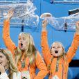 Les princesses Amalia et Ariane, le roi Willem-Alexander - La famille royale des Pays-Bas lors des 1/4 de finale femmes de hockey sur gazon durant les Jeux Olympiques (JO) 2016 de Rio de Janeiro. Le 15 août 2016 15/08/2016 - Rio de Janeiro