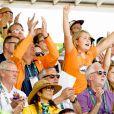 Le roi Willem-Alexander des Pays-Bas, son épouse la reine Maxima et leurs trois filles, la princesse Catharina-Amalia (12 ans), la princesse Alexia (11 ans) et la princesse Ariane (9 ans), assistaient le 17 août 2016 aux épreuves de saut d'obstacles en équitation aux Jeux olympiques de Rio de Janeiro.