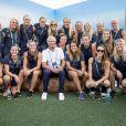 Le roi Carl XVI Gustaf en conférence de presse avec l'équipe féminine de football suédoise au village olympique à Rio, le 17 août 2016.