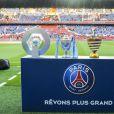 Les quatre trophées du PSG remportés lors de la saison 2015-2016 ( Championnat de France , Coupe de France , Coupe de la Ligue et Trophée des Champions) - Match de Ligue 1 PSG-Metz - 2ème journée au Parc des Princes à Paris, le 21 août 2016. Victoire du PSG 3-0. © Pierre Perusseau/Bestimage