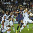David Luiz au duel - Match de Ligue 1 PSG-Metz - 2ème journée au Parc des Princes à Paris, le 21 août 2016. Victoire du PSG 3-0. © Pierre Perusseau/Bestimage