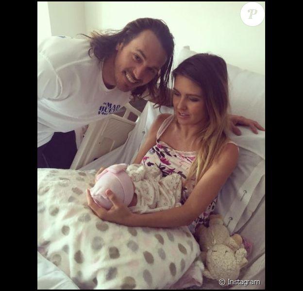 Audrina Patridge avec sa fille Kirra et son fiancé Corey sur Instagram, août 2016