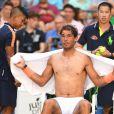 Rafael Nadal lors de son premier tour à l'US Open 2016 au USTA Billie Jean King National Tennis Center à New York, le 29 août 2016.