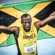 Usain Bolt participe à la finale du 200 mètres hommes au stade olympique à Rio, le 18 août 2016.