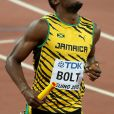 Usain Bolt - Les jamaïcains deviennent champions du monde en remportant le relais 4x100 lors du championnats du monde d'athlétisme à Pékin, le 29 août 2015.