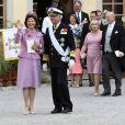 La reine Silvia et le roi Carl XVI Gustaf de Suède au baptême de leur petit-fils le prince Alexander de Suède au palais Drottningholm à Stockholm le 9 septembre 2016