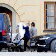 La princesse Sofia de Suède arrive pour le baptême de son fils le prince Alexander de Suède au palais Drottningholm à Stockholm le 9 septembre 2016