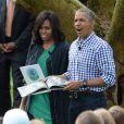 Barack Obama et sa femme Michelle Obama lors de la traditionnelle chasse aux oeufs de Pâques de la Maison Blanche à Washington, le 28 mars 2016