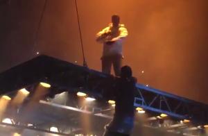 Kanye West : Un fan chute lourdement de sa scène volante... Flippant !