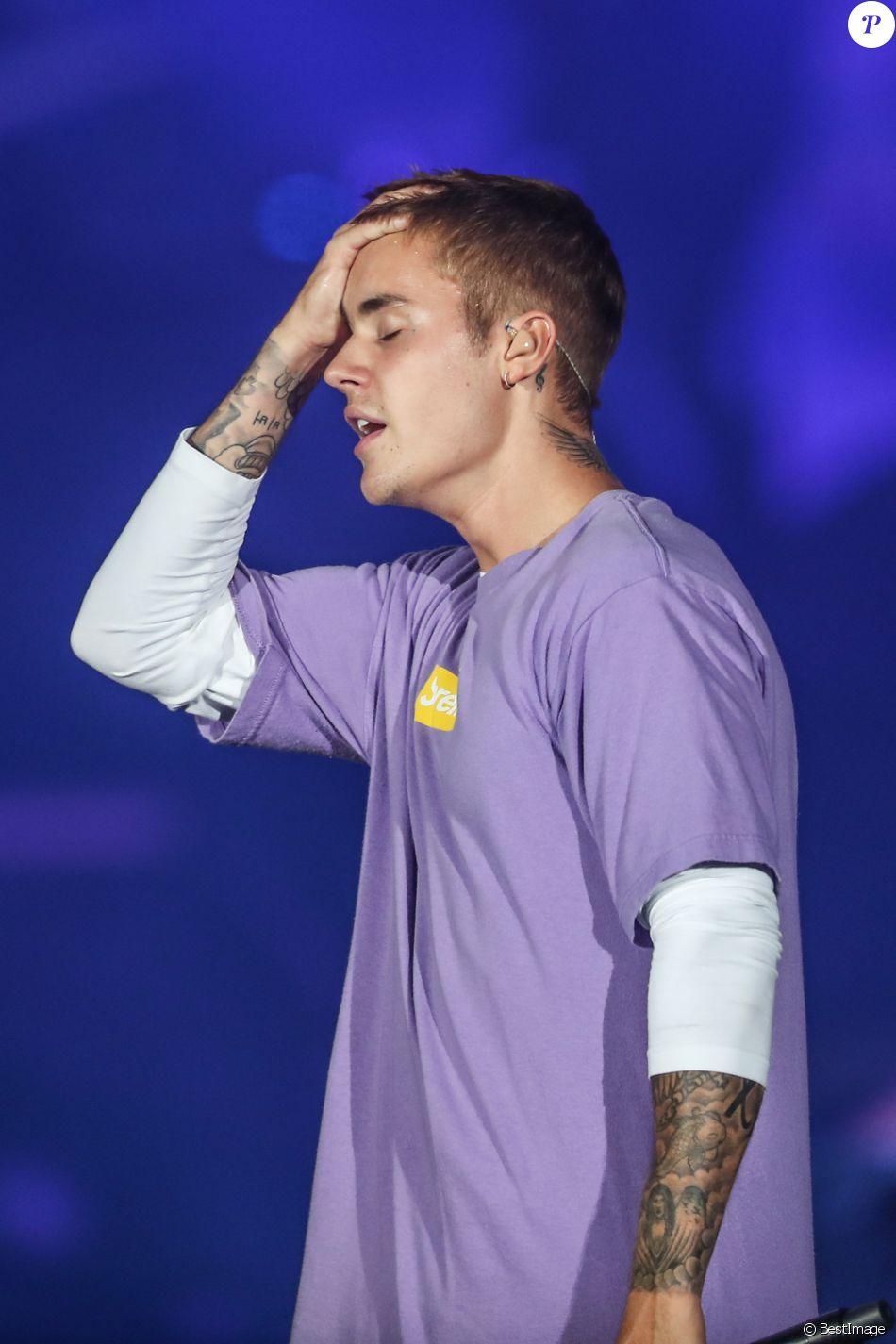 "Concert de Justin Bieber à l'AccorHotels Arena à Paris dans le cadre de sa tournée ""Purpose World Tour"", le 20 septembre 2016. © Cyril Moreau/Bestimage"