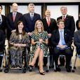 La reine Maxima des Pays-Bas, en visite en Argentine, a fait une intervention lors d'une conférence à l'Université catholique de Buenos Aires le 11 octobre 2016. Ses parents Jorge et Carmen et sa soeur Ines étaient venus la voir.