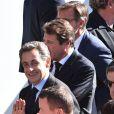 Christian Estrosi, Nicolas Sarkozy et François Fillon - François Hollande lors de l'hommage National aux victimes de l'attentat de Nice le 15 octobre 2016. © Bruno Bebert / Bestimage