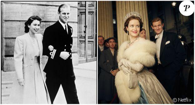 """Matt Smith dans le rôle de Philip Mountbatten, duc d'Edimbourg, et Claire Foy dans celui d'Elisabeth dans """"The Crown"""", la nouvelle série Netflix (2016)."""