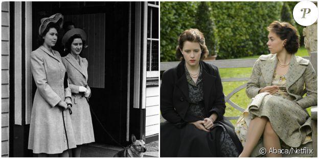Vanessa Kirby et Claire Foy sont Maragaret et Elisabeth dans The Crown, une série originale Netflix (2016).