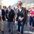 Le prince Albert II de Monaco entouré de son cousin John Kelly et d'Alexandra Golaszewska aux Championnats du monde d'aviron de mer à Monaco le 21 octobre 2016. © Claudia Albuquerque/Bestimage