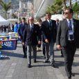 Le prince Albert II de Monaco avec Jean-François Gourdon aux Championnats du monde d'aviron de mer à Monaco le 21 octobre 2016. © Claudia Albuquerque/Bestimage