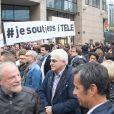 Rassemblement devant les locaux d'iTÉLÉ à Boulogne-Billancourt au neuvième jour de grève de la société des journalistes. Le 25 octobre 2016.