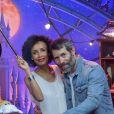 """Sonia Rolland et son compagnon Jalil Lespert au lancement du nouveau spectacle """"Mickey et le magicien"""" au Parc Disneyland Paris, le 2 juillet 2016."""