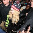 Madonna arrive avec son fils David au Washington Square Park pour un concert surprise à New York, le 3 novembre 2016