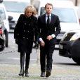 Emmanuel Macron et sa femme Brigitte assistent aux obsèques de Henry Hermand en l'église Saint Sulpice à Paris le 10 novembre 2016. © Dominique Jacovides / Bestimage