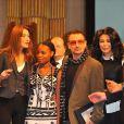 Carla Bruni avec Tandiwe Chama et Bono au 9e Sommet des prix Nobel de la paix