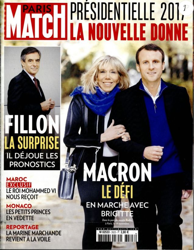 Brigitte et Emmanuel Macron en couverture de Paris Match, en kiosques le 24 novembre 2016.