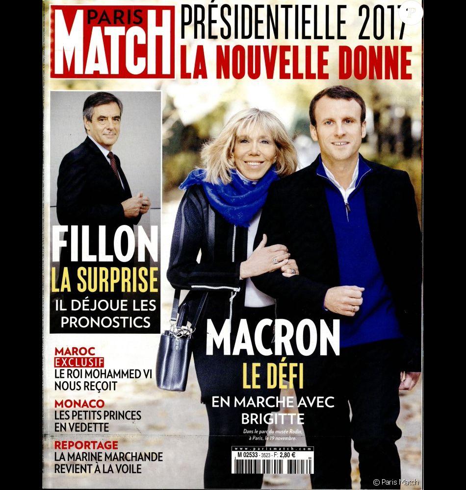 brigitte et emmanuel macron en couverture de paris match en kiosques le 24 novembre 2016. Black Bedroom Furniture Sets. Home Design Ideas