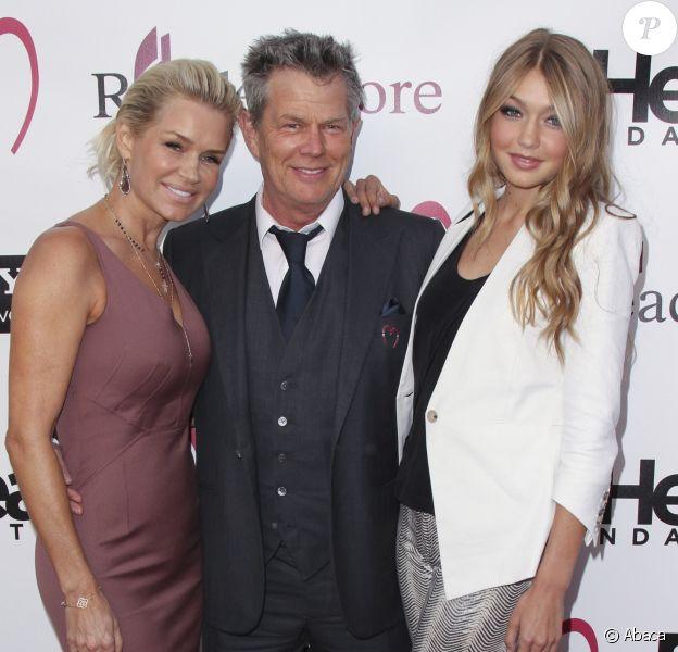 """Yolanda et David Foster accompagnés de Gigi Hadid à la soirée de gala """"Heart Foundation"""" organisée au Hollywood Palladium à Los Angeles, le 10 mai 2012"""