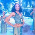 Alicia Aylies, alias Miss France 2017, lors du défilé sur le thème des Princesses de glace, le 17 décembre à l'Arena de Montpellier