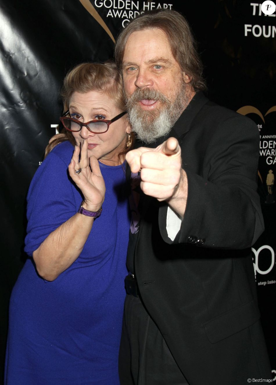"""Carrie Fisher, Mark Hamill au gala """"The Midnight Mission Golden Heart Awards"""" à Beverly Hills, le 30 septembre 2014"""