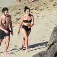 Jake Gyllenhaal et Greta Caruso sur la plage de Colombier à St Barth, le 1er janvier 2017.