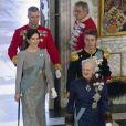 Le prince Frederik et la princesse Mary de Danemark secondaient la reine Margrethe II de Danemark lors de la réception du nouvel an pour le corps diplomatique, au palais de Christiansborg à Copenhague, le 3 janvier 2017.
