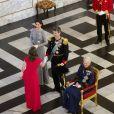 """"""" Le prince Frederik et la princesse Mary de Danemark secondaient la reine Margrethe II de Danemark lors de la réception du nouvel an pour le corps diplomatique, au palais de Christiansborg à Copenhague, le 3 janvier 2017. """""""