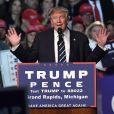 Le candidat républicain à l'élection présidentielle américaine, Donald Trump,en meeting à Grand Rapids dans le Michigan. Le 7 novembre 2016.