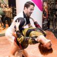 """Nicolas Archambault et Fauve Hautot - La troupe de """"Saturday Night Fever"""" fait son show à l'occasion du lancement des soldes d'hiver aux Galeries Lafayette à Paris, France, le 11 janvier 2017."""
