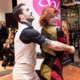 """""""Nicolas Archambault et Fauve Hautot - La troupe de """"Saturday Night Fever"""" fait son show à l'occasion du lancement des soldes d'hiver aux Galeries Lafayette à Paris, France, le 11 janvier 2017."""""""