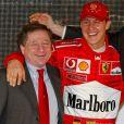 jean Todt, Michael Schumacher, Luca Montezemolo et Rubbens Barrichello à la présentation de la nouvelle Ferrari le 7 février 2003.