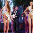 Bernard Montiel et les candidates en bikini lors de l'élection de Miss Prestige National 2017 au cabaret l'Ange Bleu à Gauriaguet près de Bordeaux le 14 janvier 2017. © Patrick Bernard / Bestimage