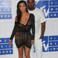 Kim Kardashian et son mari Kanye West à la soirée des MTV Video Music Awards 2016 à Madison Square Garden à New York, le 28 août 2016