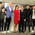 Zinedine Zidane avec sa femme Véronique et ses quatre enfants Enzo, Luca, Elyaz et Théo, Florentino Perez - Zinédine Zidane devient l'entraineur du Real de Madrid, Madrid, le 4 janvier 2015.