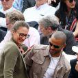 Mary Pierce et Tony Parker - People dans les tribunes de Roland Garros le 26 mai 2016.