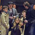 David Beckham sortant de son hôtel avec ses enfants Brooklyn, Romeo, Cruz et Harper, à New York le 12 février 2017
